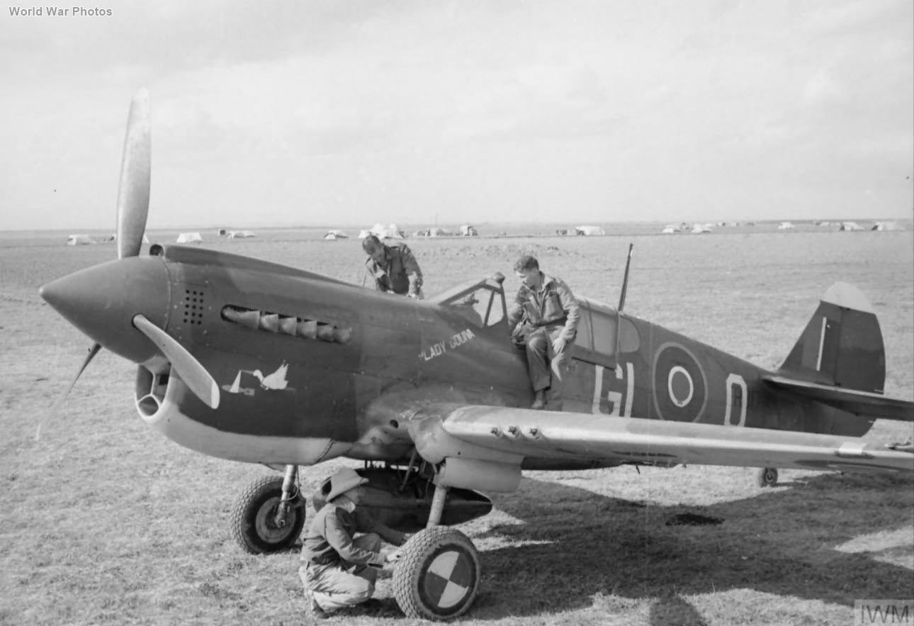 """Kittyhawk Mk III FR817 GL-O """"Lady Godiva"""" of 5 Squadron SAAF Foggia"""