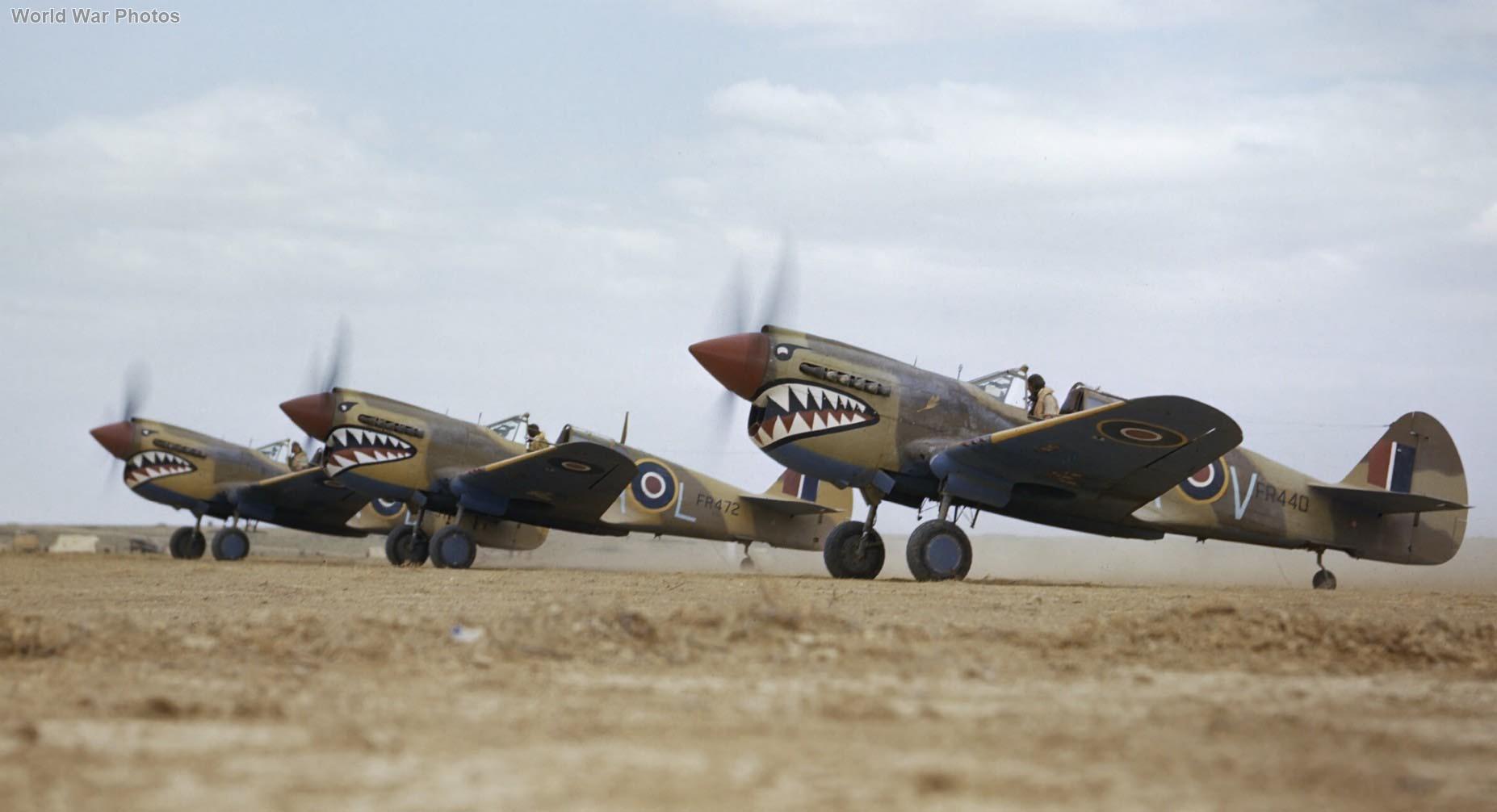 Kittyhawks Mk III FR472 GA-L, FR440 GA-V of No. 112 Squadron RAF