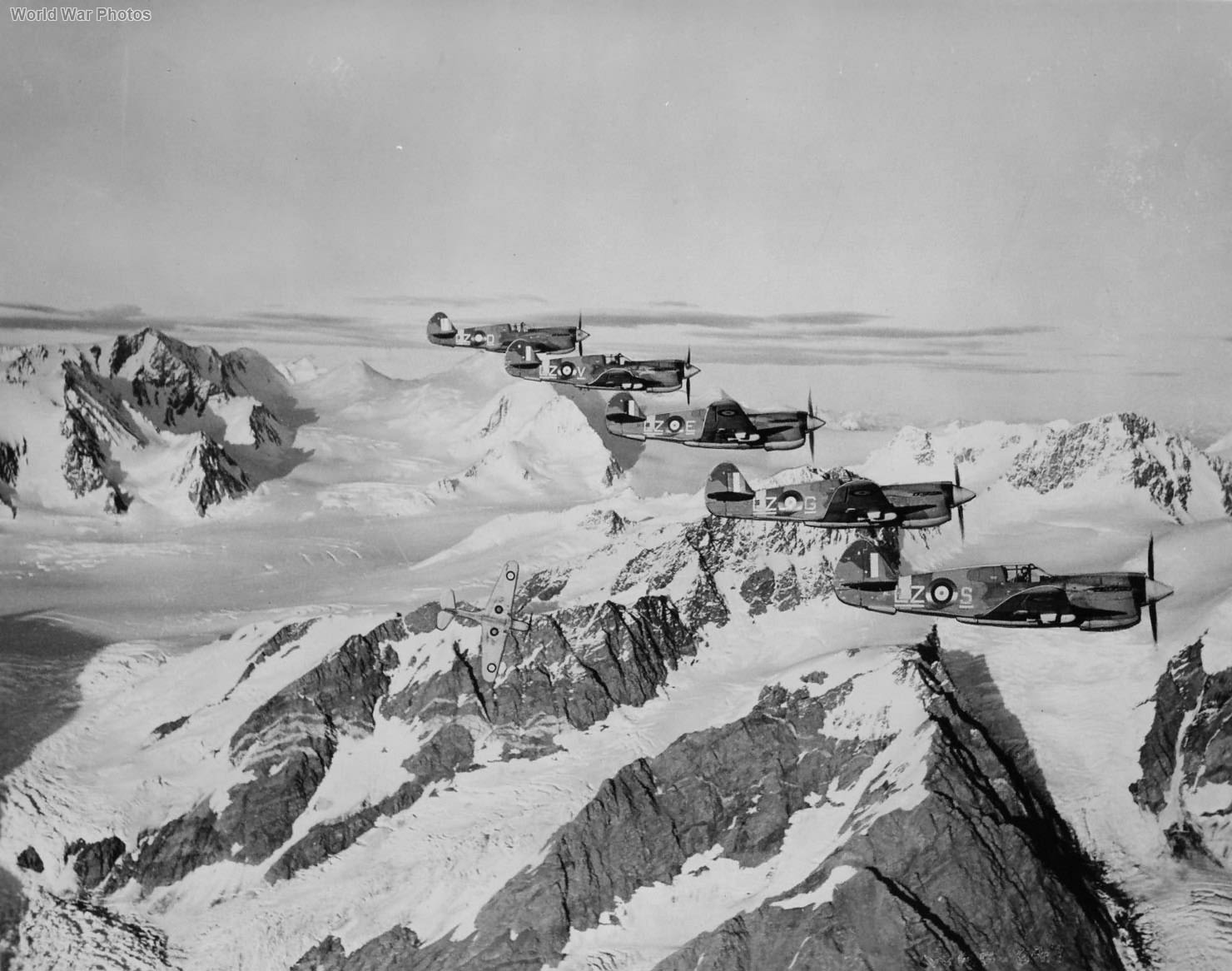 P-40s of No. 111 (f) Squadron, RCAF in flight