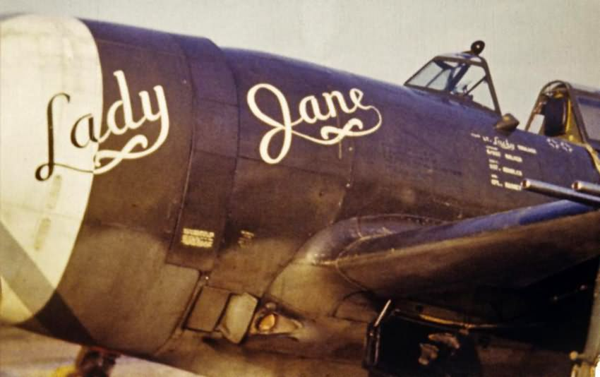 """P-47 Thunderbolt """"Lady Jane"""" piloted by John W. Truluck of the 63rd FS, 56th Fighter Group"""