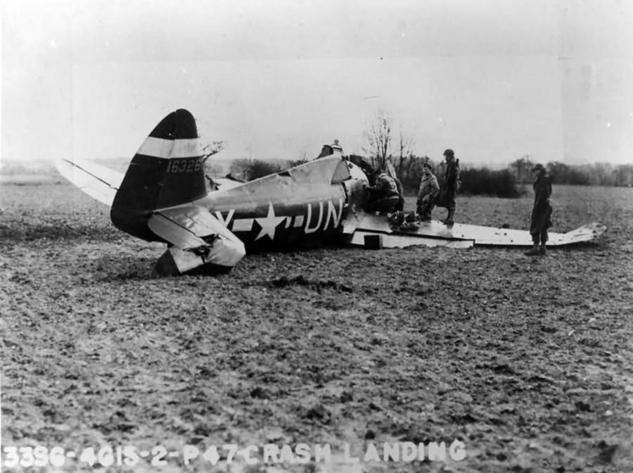 crashed P-47 Thunderbolt, UN-Y 41-6326 of the 56th Fighter Group pilot Lt Harold E Comstock – 3 March 1944