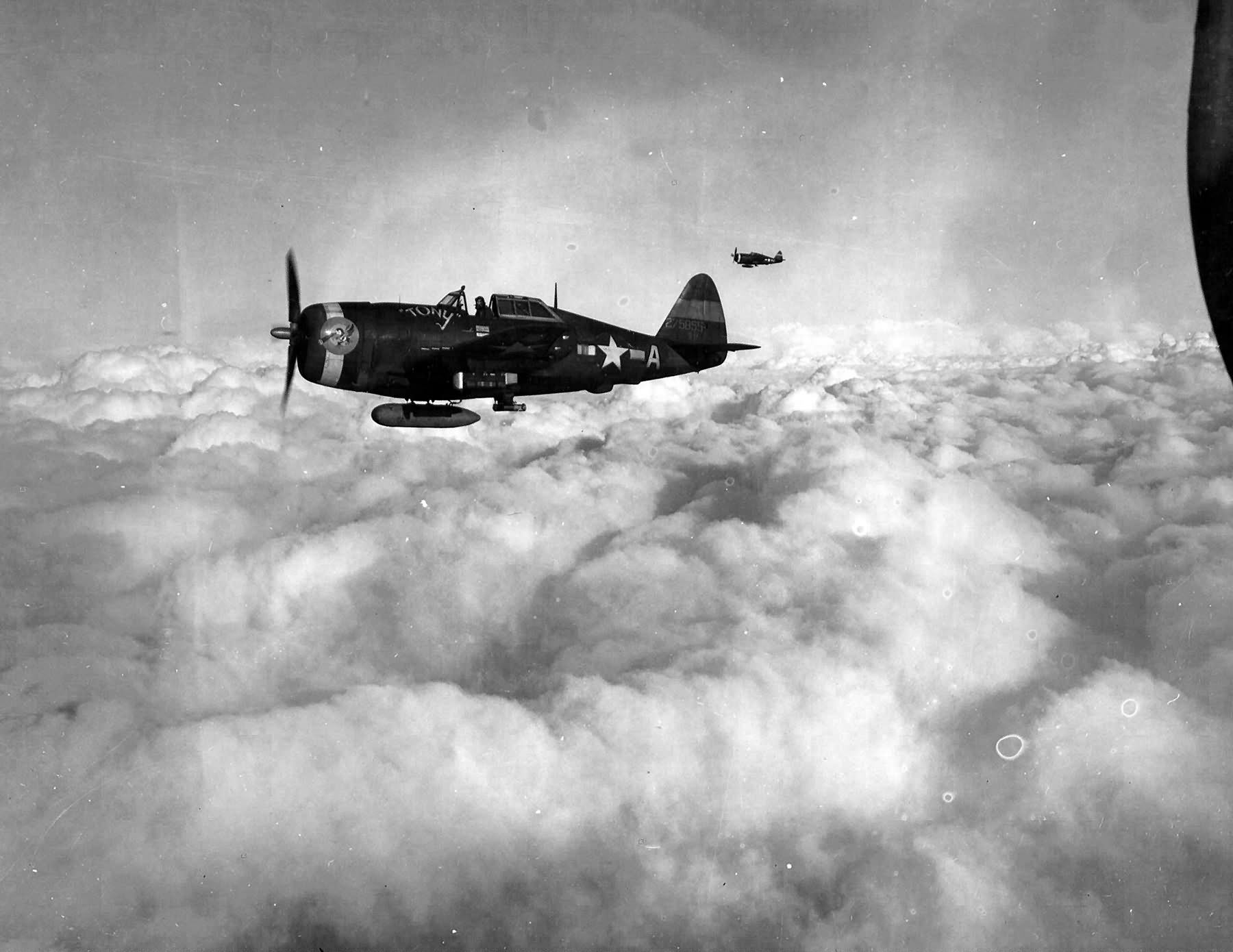 "P-47D Thunderbolt serial 42-75855 named ""Tony"" code 5F-A of the 5th ERS (Emergency Rescue Squadron) in flight, 1944"