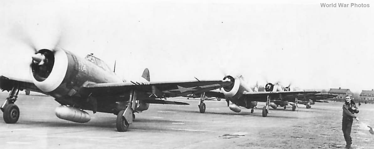 366th FG P-47s take off from RAF Thruxton for raid on Louvain 1944