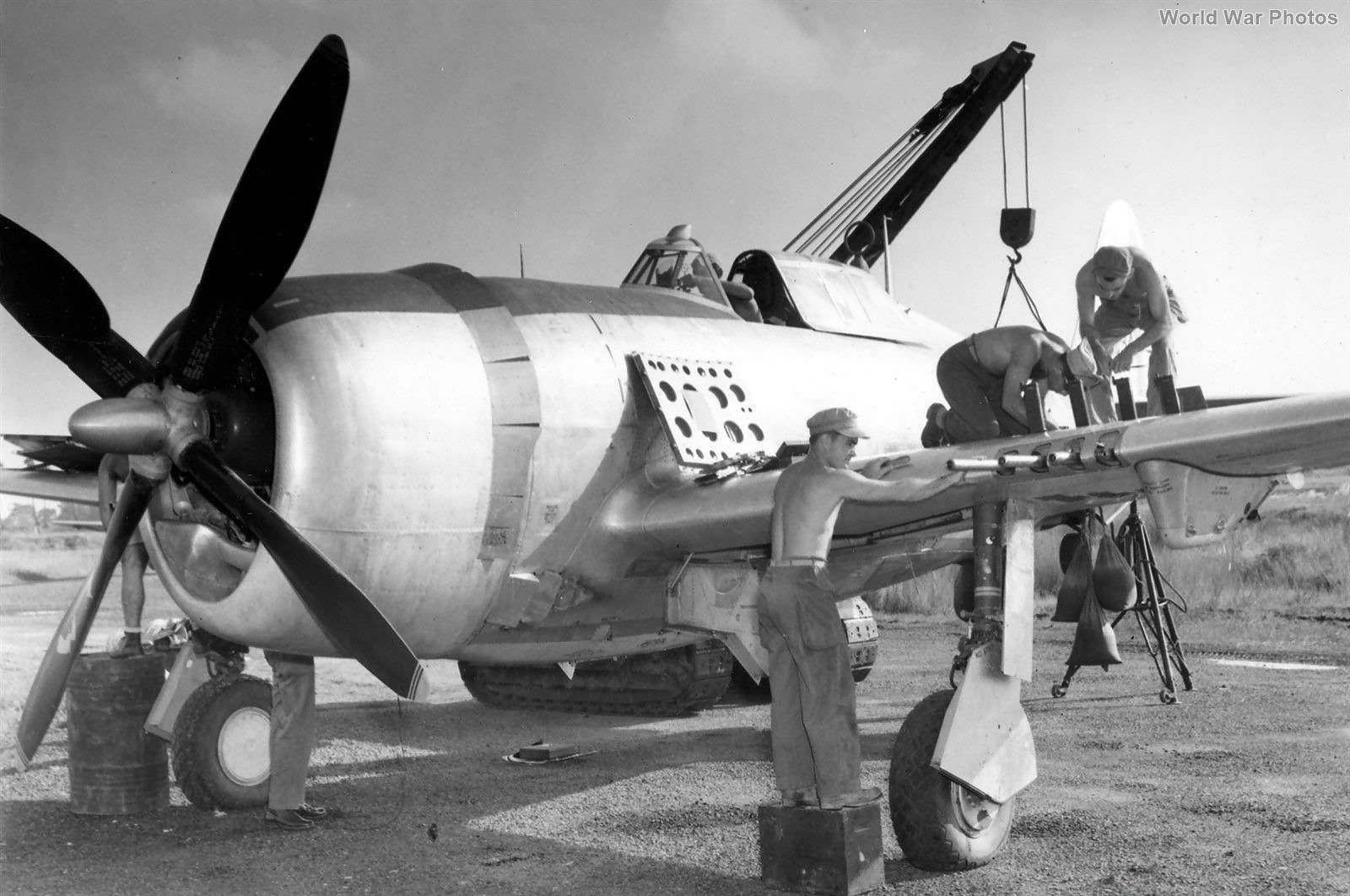Armorers Work on 1st Air Commando P-47 India 44