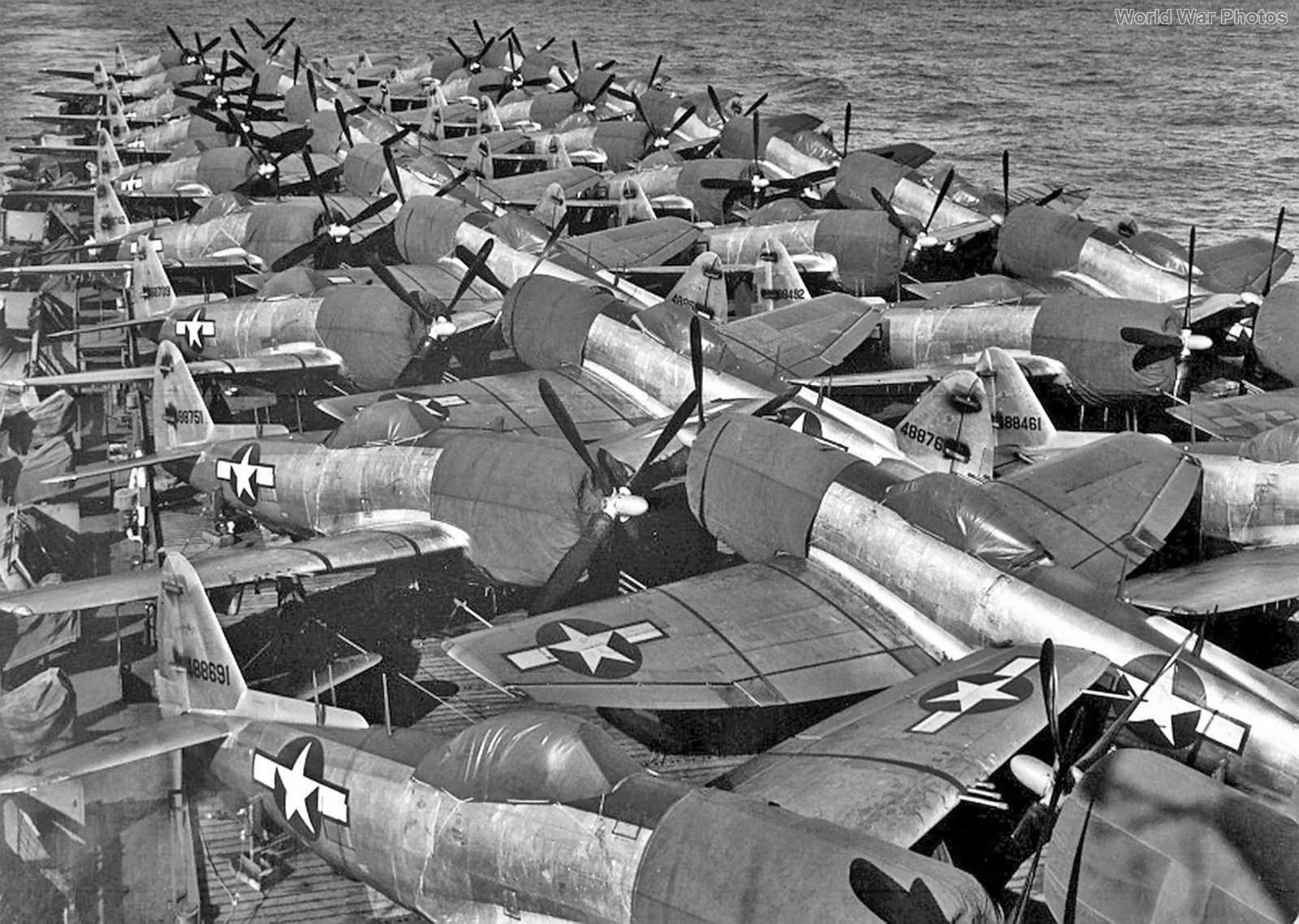 P-47N on the flight deck of Casablanca 16 July 1945