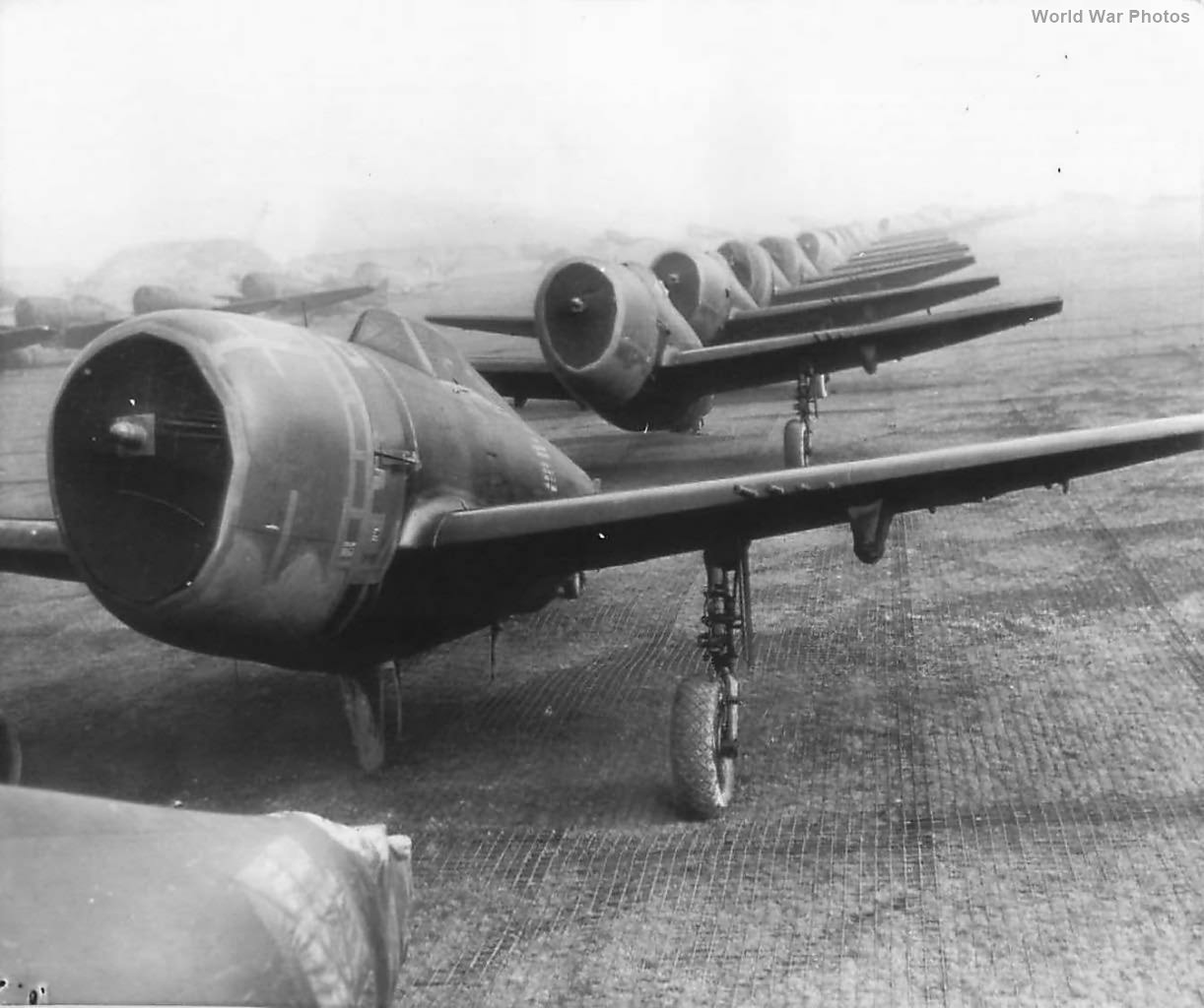 P-47 await assembly at Speke Airfield near Liverpool