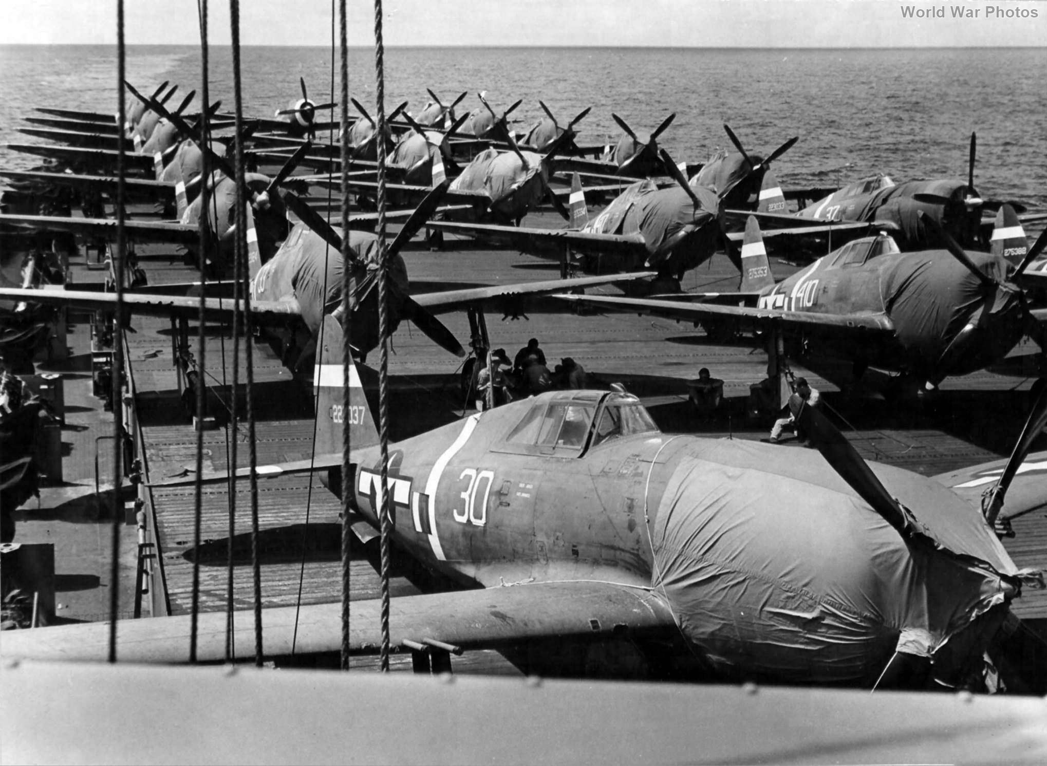 P-47s bound for Eniwetok USS Manilla Bay 13th June 44