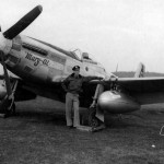 "Pilot 1lt James McCubbin of the 385th FS 364th Fighter Group. P-51D Mustang ""Mary-al"" 44-11242 Coded 5E-F"
