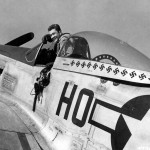 "Capt Raymond Littge of the 487th FS 352nd Fighter Group in cockpit P-51D Mustang 44-72216 ""Miss Helen"" Code HO-M"