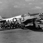 Crew of the 353rd FG Poses With War Weary P-51B With Malcolm Hood Serial 43-12433 1944