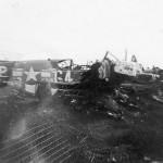 Destroyed P-51 Mustang coded G4+P of the 357th Fighter Group 362nd Fighter Squadron
