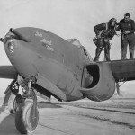 Jet fighter Bell YP-59 Airacomet and test pilot Jack Woolams 1943