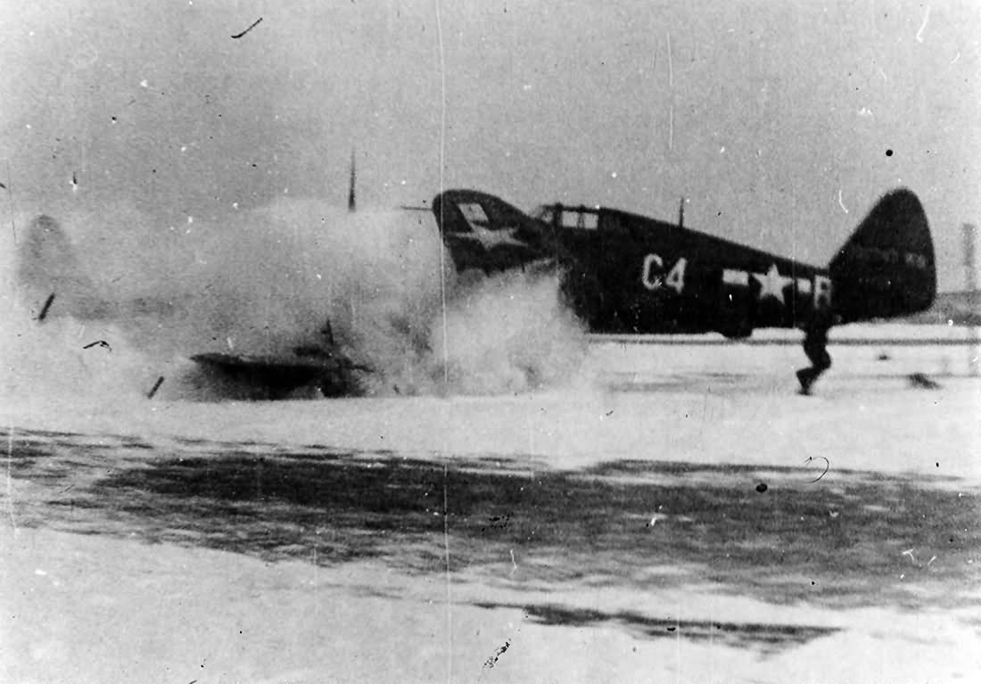 Pilot John Rohde of the 388th FS, 365th FG lost control of his P-47D code C4-B 42-28614 – 24 January 1945 Metz airfield Y-34