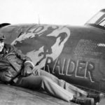 "1Lt Miller on P-47D Thunderbolt 42-8511 of the 352nd Fighter Group, 328th FS PE-W ""Red Raider"""