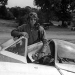 Colonel Bennick of the 373rd Fighter Group in the cockpit of his P-47 Thunderbolt
