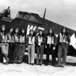 "Lt Quince Brown and pilots of the 84th FS, 78th Fighter Group with a P-47 ""Okie"""