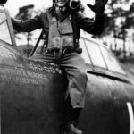 Lt Virgil Meroney of the 487th FS, 352nd Fighter Group in the cockpit of his P-47D Thunderbolt 42-8473 HO-V