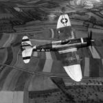 P-47 Thunderbolt code R3-G 42-25845 of the 373rd Fighter Group in flight September 1944