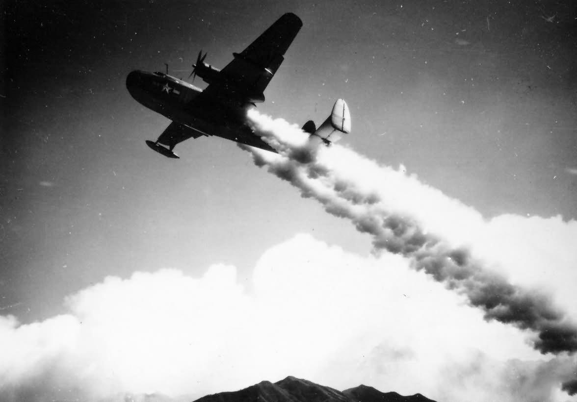 PBM Martin Mariner taking off with JATO