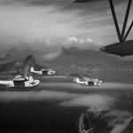Martin PBM-3S Mariners over Shoreline of Rio as they Return to Base