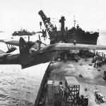 Martin PBM-5 Mariner Hoisted Aboard Seaplane Tender 1945