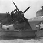 PBM Mariner flying boat undergoing engine maintenance