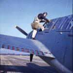 Pilot climbing into Buccaneer
