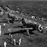SB2C-1C from VB-8 lined up on deck of Bunker Hill