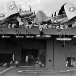 SB2C 1s of VB 5 pictured on the flight deck of Yorktown in 1943