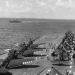 SB2C lined up for launch on the flight deck of the carrier Antietam 14aug1945