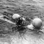 SB2U Vindicator after crashing in the water after take off from USS Saratoga CV-3