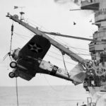 SB2U Vindicator code 3-B-10 of the VB-3 hanging from a crane USS Saratoga CV-3 1938