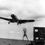 Vought SB2U Vindicator landing on carrier