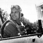 USMC pilot Charles Fink of VMSB-244 after 55th combat mission in cockpit SBD-5