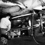 Loading a 1000 pound GP bomb on a SBD 5
