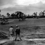 Marine SBD taxi on the runway at Bougainville 1944