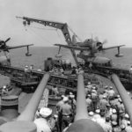 Curtiss SC Seahawks ready to be catapulted from USS Los Angeles (CA-135) – 1945