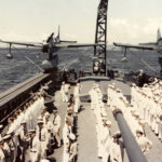 SO3C on catapult of USS Biloxi CL-80, October 1943 – color photo