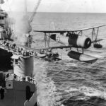 Curtiss SOC launched from catapult of New Orleans-class cruiser 1943
