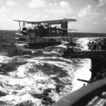SOC Seagull #2 takes off from USS Minneapolis (CA-36) during Wake Raid 5 October 1943
