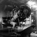 SOC-3 Seagull stripped for maintenance in the hangar of USS Savannah (CL-42) 1938