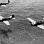 TBD Devastators of the Naval Operational Training Command at NAS Miami in flight over Atlantic 1942