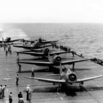 TBD-1 Devastators of VT-6 lined up for launch, USS Enterprise on May 4 1942