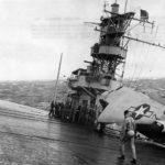 TBF Avenger on deck of carrier moving thru heavy seas