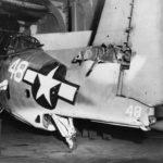 TBM-1C Avenger #48 of VT-10 on the hangar deck of the USS Enterprise – June 12 1944