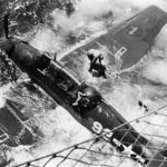 TBF-1C Avenger #92 of VT-26 after it ditched following a catapult mishap on board the USS Bataan CVL-29 March 13, 1944
