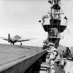 TBF-1 Avenger of VGS-13 take off – USS Core ACV-13 February 15, 1943