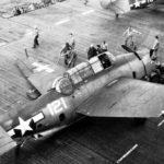 TBF-1 Avenger 121 of the VT-5 after deck crash on USS Yorktown CV-10