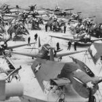 TBF, SBD and F4F from Air Group 4 on snow covered deck of USS Ranger CV-4