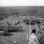 TBF Avengers launched from catapult of USS Yorktown 1946
